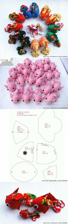 17 Ideas sewing toys fish patterns for 2019 Cute Crafts, Felt Crafts, Fabric Crafts, Diy And Crafts, Plushie Patterns, Doll Patterns, Sewing Patterns, Fish Patterns, Pincushion Patterns