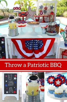 Who doesn't love a red, white & blue party for Memorial Day, 4th of July and more! See how @partyplanits put together this fabulous patriotic BBQ complete with DIY touches and loads of old-fashioned Americana charm. #patriotic #party