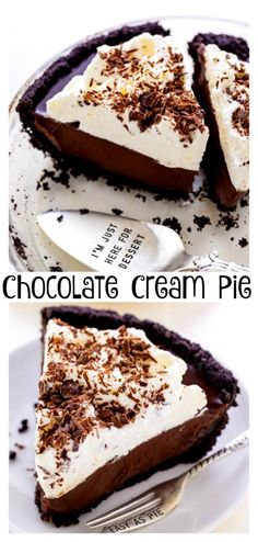 No-Bake Chocolate Cream Pie #chocolatecreampie #chocolatepie #nobakepie #oreopie #oreocookiecrust ...the microwave oven makes sure that clean up is a breezeFor this smooth creamy treat you will need1 12 cups Semisweet chocolate chips 1 8oz Package cre...opped 12 c boiling water Dash of saltWhile water is boiling in a tea kettle mix remaining ingredients in a saucepan Add water to this dry mixture and #dessertsco.com #desserts-no-bake-chocolate #lovedesserts Mini Desserts, No Bake Chocolate Desserts, Chocolate Pies, Keto Desserts, No Bake Desserts, Easy Desserts, Chocolate Filling, No Bake Chocolate Pie Recipe, Chocolate Cream Cake