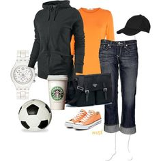 """""""cute sporty outfit....with a Starbucks....love it!""""....I would HAVE to trade that Starbucks for a DrPepper!!! But looks comfy!!"""
