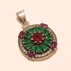 Engagement & Wedding Jewelry & Watches Creative Natural Emerald Ruby Pendant 925 Sterling Silver Women Turkish Fine Jewelry Gift And To Have A Long Life.