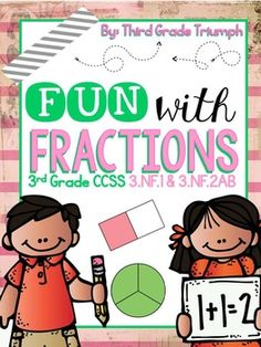 Fractions...Fractions...Fractions...Fractions...Fractions!The Fun with Fractions Unit includes standards: 3.NF.1 and 3.NF.2 includes 59 pages of printables, plus reference and help sheets for students and parents. The introduction of fractions in third grade represents a big conceptual leap, so providing a strong foundation is essential for this very abstract concept.