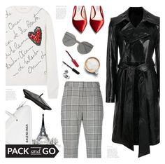 """pack & go: paris fashion week"" by jesuisunlapin ❤ liked on Polyvore featuring Alexander Wang, Balenciaga, Oscar de la Renta, Helmut Lang, Prada, Witchery, Caffé, RetroSuperFuture and Bobbi Brown Cosmetics"
