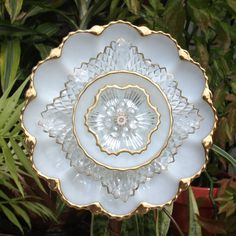 Glass Plate Flower repurpose vintage anchor by ARTfulSalvage, $35.00