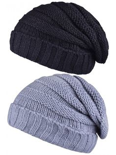 Adult Slouch Beanie Hat Warm Knit Winter Hat Outdoor Skull Cap Men s  Fashion Cap - Black and Light Grey - C518689WIKD ae5e3ea2d283