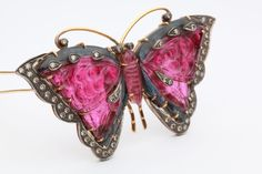 Fine Rubellite and Diamond Butterfly Brooch from art1900 on RubyLUX