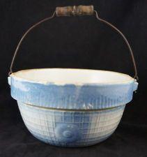 1800s Primitive Saltglazed SUNFLOWER American Blue Stoneware Handled Bowl