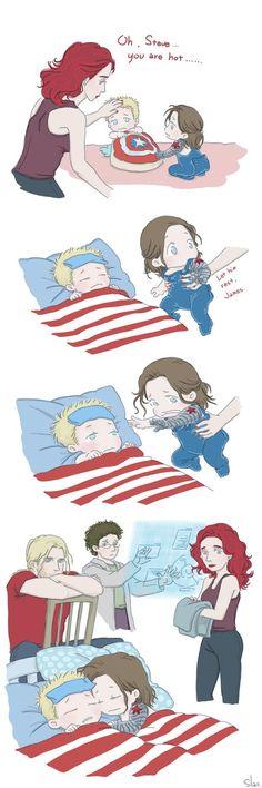 Steve and Bucky babies: Sick by SilasSamle: