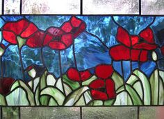 Red Oriental Poppies 11 x 35Stained Glass by StainedGlassArtist