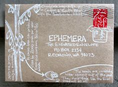 This chocolate-inspired envelope (by Marissa Biven for The Elevated Envelope exchange) is actually part of a series.  Click through to see how chocolate is made (into mail art)!