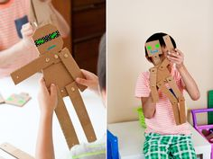 10 ideias criativas para fazer brinquedos com caixas de papelão - robô