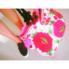 Floral oversized beach tote