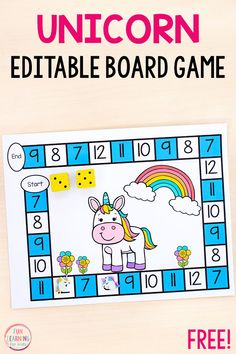 Board games 212021095039047914 - A fun editable unicorn board game that is SO easy to differentiate with. Learn math facts, numbers and more! Source by funlearningforkids Math Board Games, Math Boards, Fun Math Games, Learning Activities, Literacy Games, Articulation Activities, Kid Games, Literacy Stations, Preschool Learning