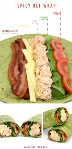 Spicy BLT wrap recipe with caught tuna - Simple & Easy Delicious R . - Spicy BLT wrap recipe with caught tuna – Simple & Easy Delicious Recipes – - Lunch Meal Prep, Healthy Meal Prep, Healthy Snacks, Healthy Eating, Healthy Recipes, Delicious Recipes, Healthy Lunch Ideas, Keto Meal, Healthy Wraps