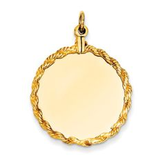 14K Yellow Gold Plain .013 Gauge Circular Engravable Disc with Rope Charm - http://www.specialdaysgift.com/14k-yellow-gold-plain-013-gauge-circular-engravable-disc-with-rope-charm-3/