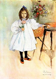 Gladys, aquarelle de Carl Larsson (1853-1919, Sweden)