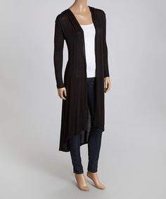 Loving this Black Hooded Open Duster on #zulily! #zulilyfinds
