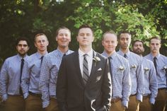 Absolutely LOVE the groomsmen in checkered shirts like this for a fall wedding.