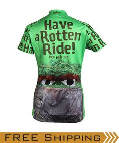"""Our Women's """"Have a Rotten Ride"""" Oscar the Grouch Cycling Jersey (back view)  Also available in Men's sizes"""