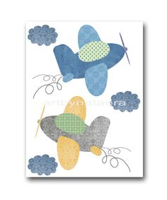 "Art for Children , Kids Wall Art, Baby Boy Room Decor, Nursery print 8"" x 10"" Print,plane,blue,yellow,artwork,collage,gray,green. $14.00, via Etsy."