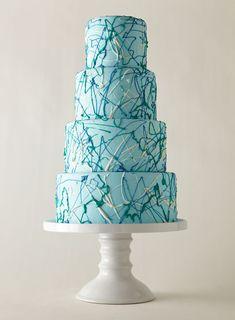 Jackson Pollock-esque drip-and-splatter cake #weddings #weddingcake
