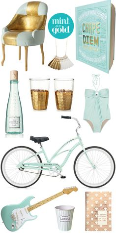 Mint and gold color combo. paper social: crushing on: mint & gold