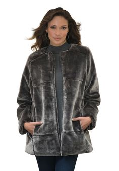 "Don't miss out on the season's biggest trend - faux fur. Shop our plus size coat that is just as feminine as it is stylish.  hidden zip front closure creates a chic appearance crew neckline beautifully frames the face paneled front and back creates flattering silhouette functional seam pockets straight hem offers comfortable sweep about 30"" length acrylic/polyester, dry clean, imported  plus size coat - faux fur mink coat, M (14-16), L (18-20), 1X (22-24), 2X (26-28), 3X (30-32), 4X (34..."