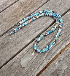 Kumihimo Beaded Necklace with White Sea Glass by ChuraumiSeaGlass, $49.00