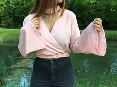 Bluse mit choker  #outfit #mode #fashion #top #handmade #summer #premium #pink #pink #bluse