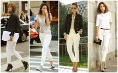 """Leia aqui!: http://imaginariodamulher.com.br/look/?go=2hH42xa Como Usar uma Calça Jeans Branca. É peça chave para a estação! Dobre a barra para um look mais decolado e atual. Dica: compre um tamanho maior para um efeito """"boyfriend"""" como a modelo."""