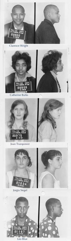 Mugshots of Freedom Riders, Jackson Mississippi, 1961. I love their faces and the range of emotions. All the tiny and not so tiny smiles, as if they know something. I wonder if they knew they'd win. by ofelia