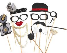 Vintage photo booth props: printable PDF. Classic roaring 20s