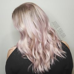 Our very own stylist Amanda and her icy lavender balayage by stylist Vetta! Blonde Pink Balayage, Ashy Blonde, Light Blonde Hair, Blonde With Pink, Silver Platinum Hair, New Hair Trends, Hair Again, Pink Hair, Your Hair