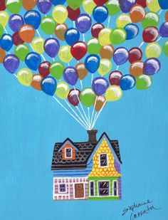 "stephanie-imagined:  This sweet little painting depicts an iconic moment from Disney/Pixar's ""Up"" when Carl's house takes flight with the use of balloons. Painted using acrylics, I made this for my sister and her husband whose 1st anniversary is coming up soon. They love the movie ""Up"", so I had a lot of fun making this for them."
