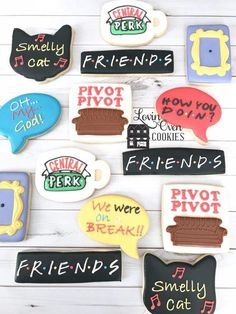 birthday cookies Friends TV Show Decorated Sugar Cookies - 1 Dozen Easter Cookies, Birthday Cookies, Baby Cookies, Heart Cookies, Valentine Cookies, Christmas Cookies, Friends Cake, Friends Show, Friends Moments
