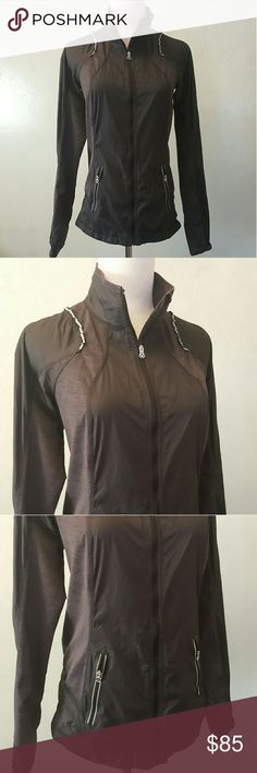 Lululemon track jacket Lululemon track jacket In perfect condition like new. Super sleek black and grey mixed fabric spandex and windbreaker material mixed with perforated fabric for breathability while working out. lululemon athletica Jackets & Coats