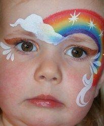 rainbow face painting (child doesn't look impressed! Girl Face Painting, Face Painting Designs, Painting For Kids, Paint Designs, Body Painting, Face Paintings, Maquillage Hello Kitty, Rainbow Face Paint, Cake Rainbow