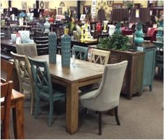 New Charlotte dining room with lighter table. Mix-and-match the chairs! 3 different styles to choose from!