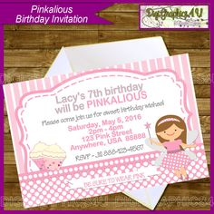 Pinkalious Girl's Birthday Party Printable by DigiGraphics4u