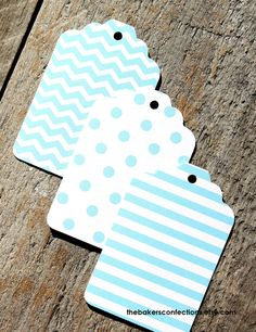 Light Blue Gift Tags in Chevron Polka Dots by thebakersconfections