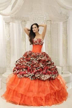 Buy orange and leopard beaded strapless organza sweet sixteen dresses from  luxurious quinceanera dresses collection c471b7559