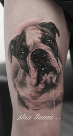 Black and grey dog portrait tattoo by Noa Yannì #InkedMag