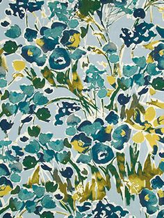 An artistic floral design of turquoise, teal, dark green and yellow on an ocean blue background. This fabric is suitable for light upholstery.