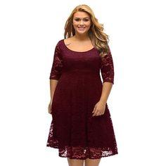 75dc4c982fad8 Romacci Women White Lace Dresses 2018 High Quality Floral 3 4 Sleeve A-Line Plus  Size Dress Female V Zip Back Black Party Dress