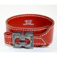 Hermes Red Leather Cuff Bracelet