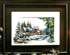 Embroidery and cross stitch patterns to complimentary: Landscape innevato- cross stitch pattern Free