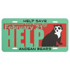 HELP SAVE ANDEAN BEARS LICENSE PLATE