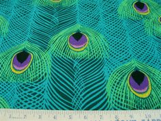 Peacock Feathers Invasion Wave fabric by bonniephantasm on