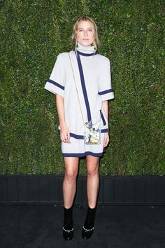 Dree Hemingway in Chanel spring 2015 knitwear and the Dubai jerrycan purse at the pre-Oscar dinner 2015