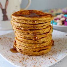 ✨Looking for the perfect breakfast for Easter morning?!✨Sweet Potato Pancakes✨ With a side of candy… ✨Pancakes - 260 calories 2F 28C 29P I use @mtsnutrition caramel sutra whey, but vanilla and cinnamon protein works great too ➖➖➖ Ingredients 1 scoop MTS Caramel Sutra Whey (30g) 1 cup chopped/steamed sweet potato (120g) 3 T egg substitute (46g) 3 T unsweetened almond milk (46ml) 1/2 t baking powder 1/2 t cinnamon Instructions Peel, chop, steam, and mash sweet potato Mix protein, egg, milk…
